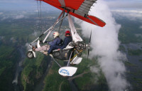 Microlite flying over Vic Falls