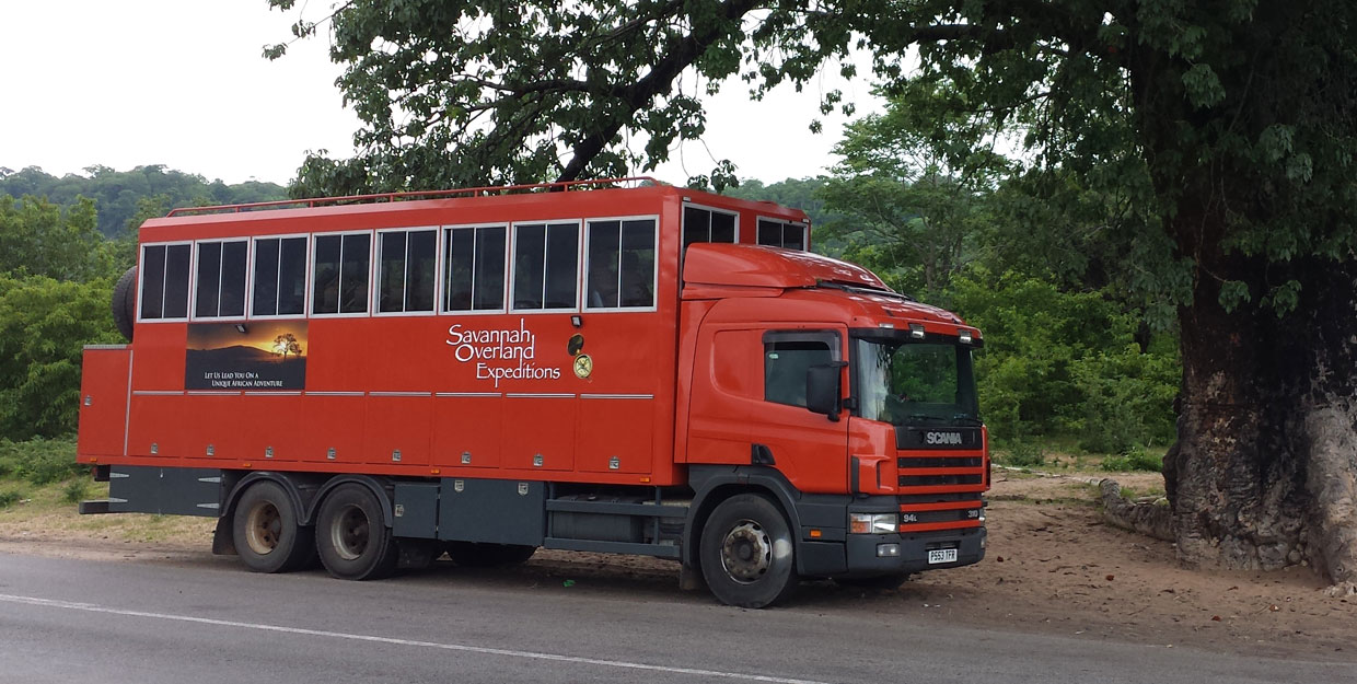 The Savannah Overland truck on the road