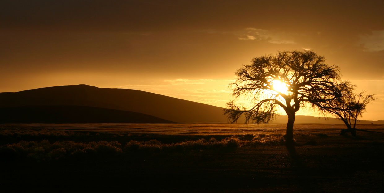 Sunset over sand dunes in Namibia width=