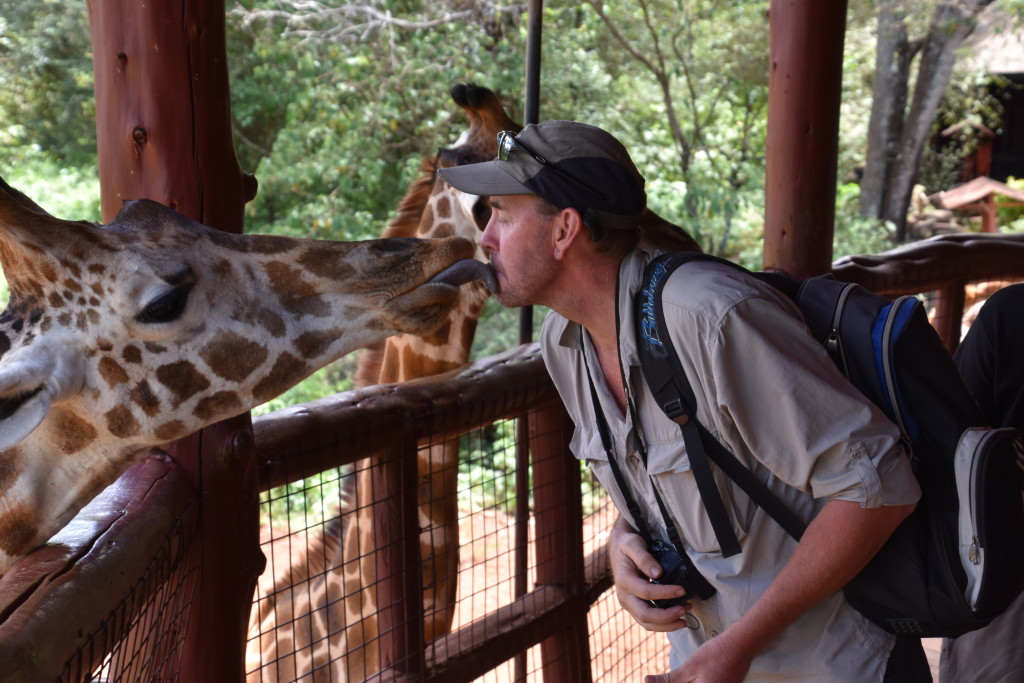 'Kiss' a giraffe at the Giraffe Sanctuary
